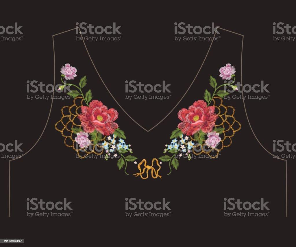 Patrón De Bordado Cuello étnico Romántico Línea Floral Con Rosas Y ...