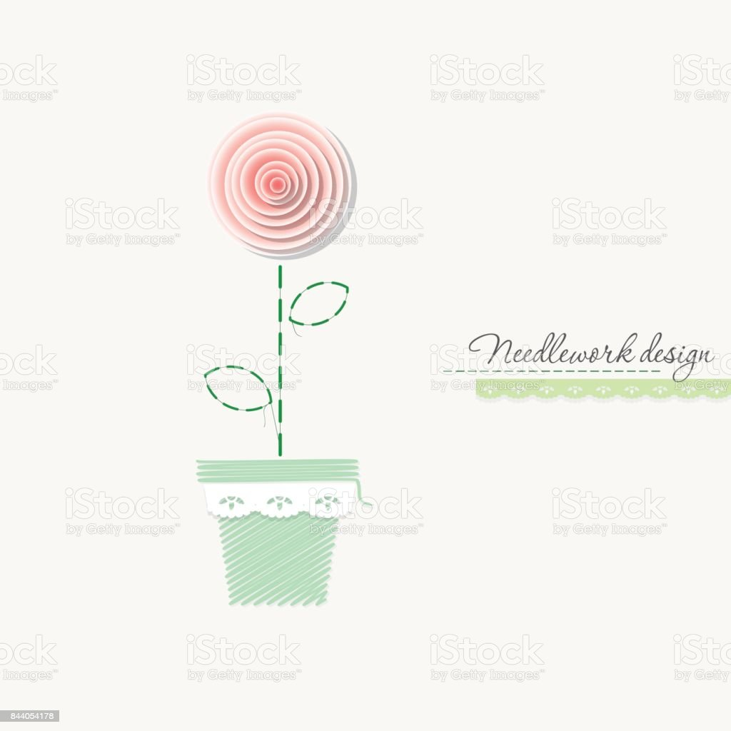 Embroidery Rose Cute Design For Greeting Cards Scrapbook Needlework