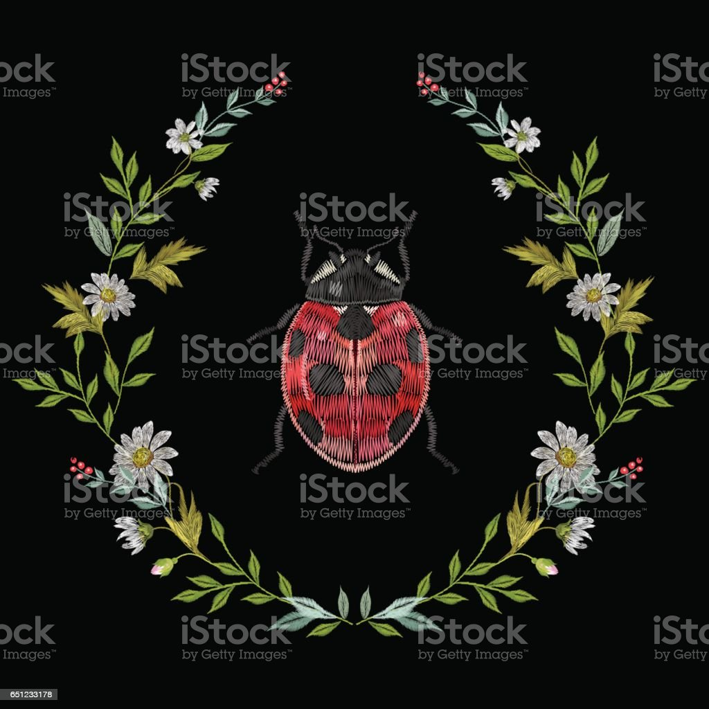 Embroidery round floral pattern with chamomiles and ladybug. vector art illustration
