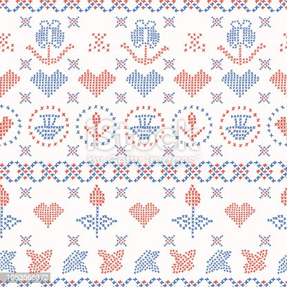 Embroidery Sampler Stitches Seamless Vector Pattern Hand Drawn Stock