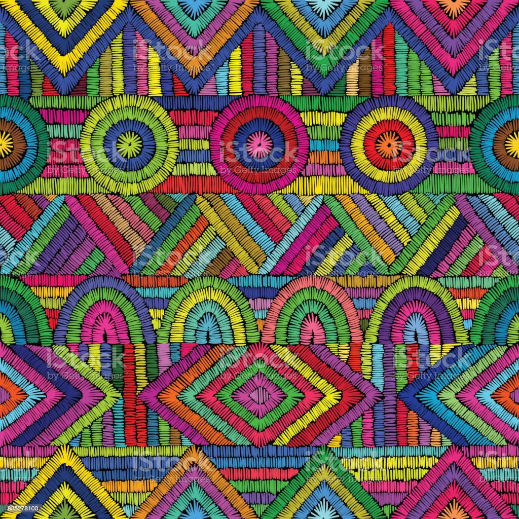 Bordado - ornamento transparente. Motivos étnicos y tribales. - ilustración de arte vectorial