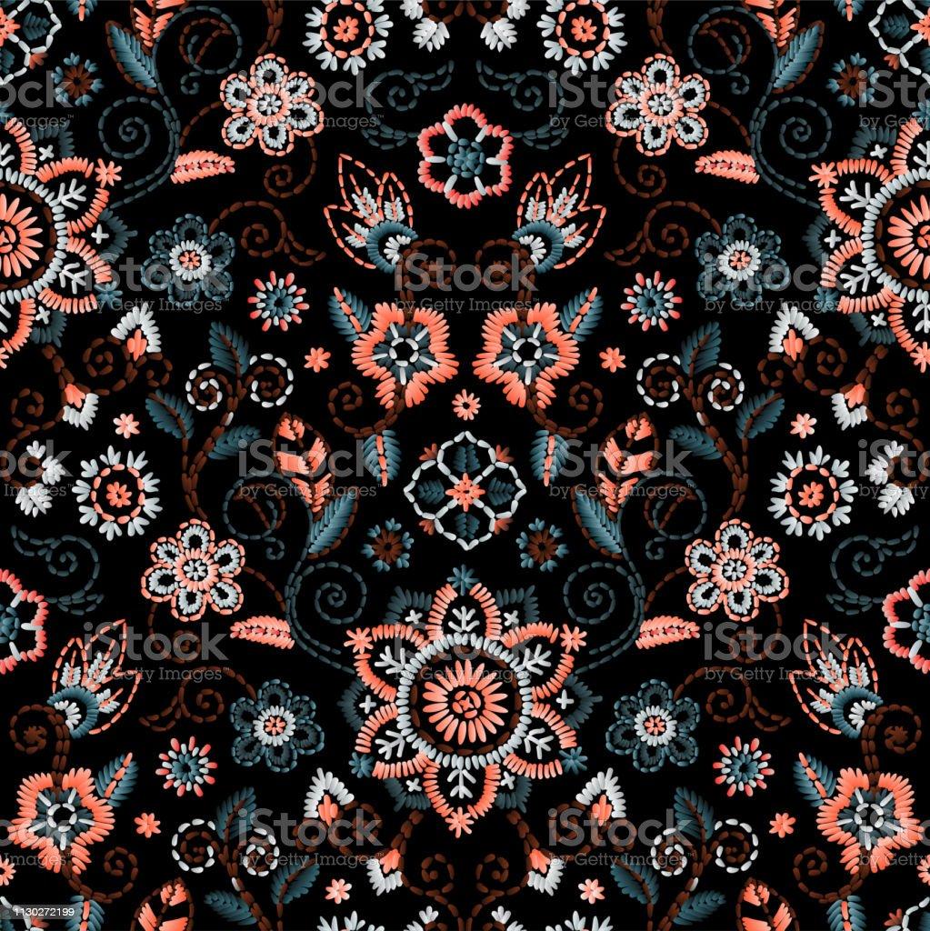 美しい花と刺繍をシームレス。暗い背景にベクトル花飾り。ファッション テキスタイルの刺繍 - イラストレーションのロイヤリティフリーベクトルアート