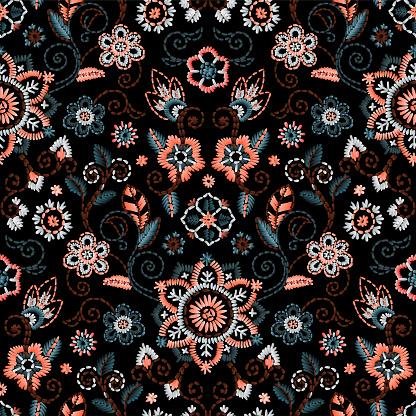美しい花と刺繍をシームレス暗い背景にベクトル花飾りファッション テキスタイルの刺繍 - イラストレーションのベクターアート素材や画像を多数ご用意