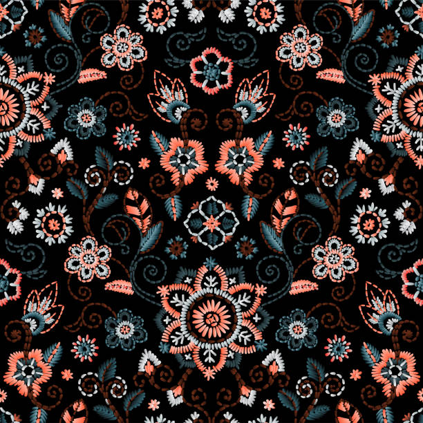 stockillustraties, clipart, cartoons en iconen met borduurwerk naadloze patroon met mooie bloemen. vector floral ornament op donkere achtergrond. borduurwerk voor mode textiel- en stof - tribale kunst