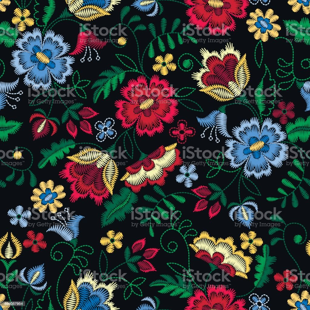 Embroidery seamless pattern with beautiful flowers. Vector floral ornament on black background. Embroidery for fashion textile and fabric. vector art illustration