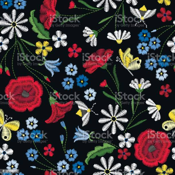 Embroidery seamless pattern with beautiful flowers vector floral on vector id818588032?b=1&k=6&m=818588032&s=612x612&h=bl7tdxgajnvnezyp98bmdi8uja2vykvvxhtwzrly79k=