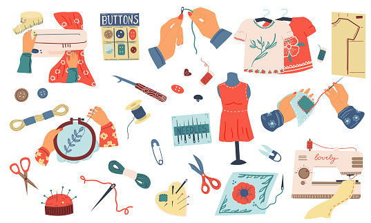Embroidery set. Cartoon needle work and hand made hobby collection, sewing tools and instruments, thread buttons and scissors. Dressmaking and crochet clothes vector illustration