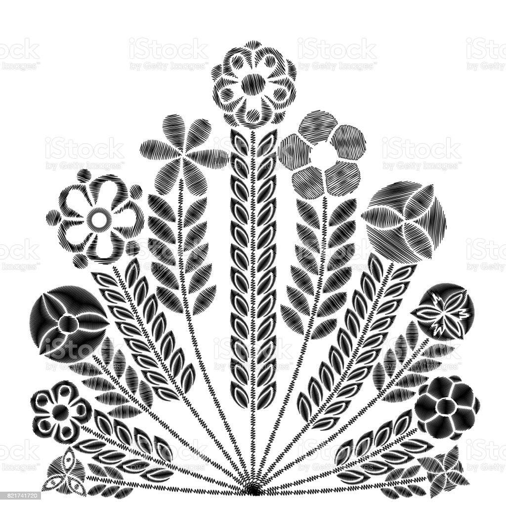 embroidery simplified floral pattern contemporary flowers 1710 S Fashion asymmetrical traditional trend fashion ornament with leaves and various fantasy plants on white background embroidery flower patch vector illustration