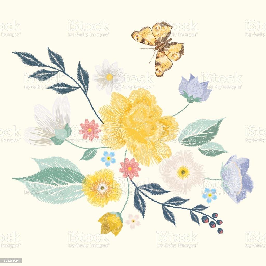 Ilustración de Bordado Inglés Patrón Floral Con Mariposa Y Flores y ...