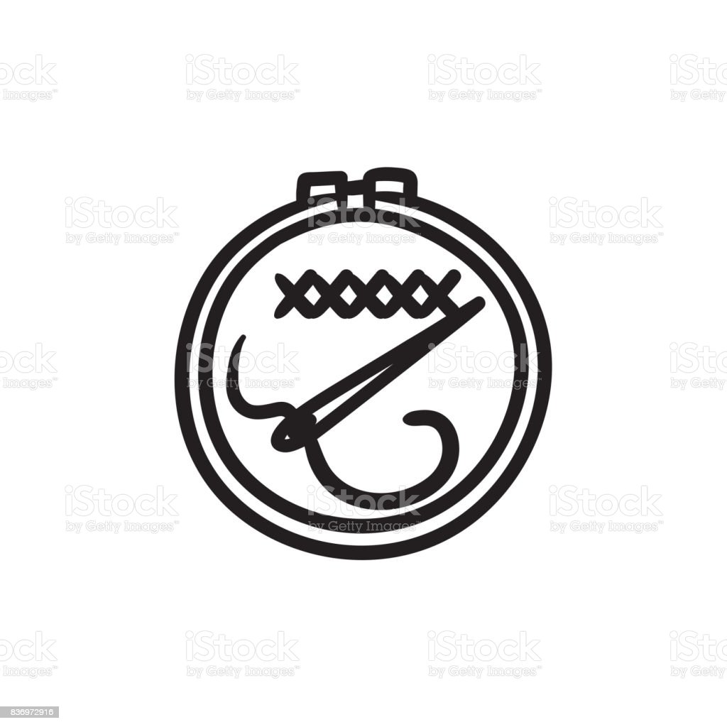 Embroidery sketch icon vector art illustration