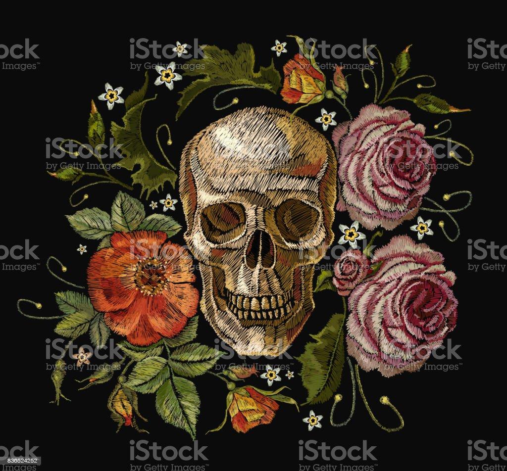 Roses de crâne et rouge de broderie. Dia de muertos, jour de l'art de la mort. Gothique romanntic broderie crânes humains roses rouges et de pivoines roses, de modèle de vêtements et de t-shirt design art vectoriel - Illustration vectorielle