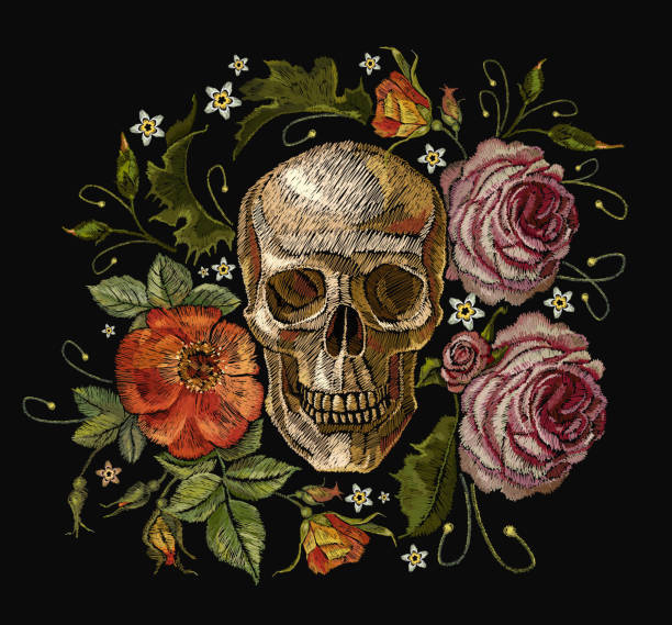 stickerei totenkopf und roten rosen. dia de muertos, tag des todes der technik. gotische romanntic stickerei menschenschädel rote rosen und rosa pfingstrosen, kleidung vorlage und t-shirt design vektorgrafiken - totenkopf tattoos stock-grafiken, -clipart, -cartoons und -symbole