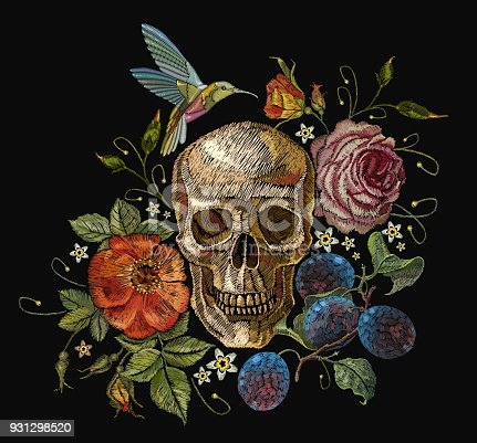 Embroidery skull and roses, grapes, humming bird and flowers. Dia de muertos art, day of the dead. Gothic embroidery human skulls and red roses, clothes template and t-shirt design