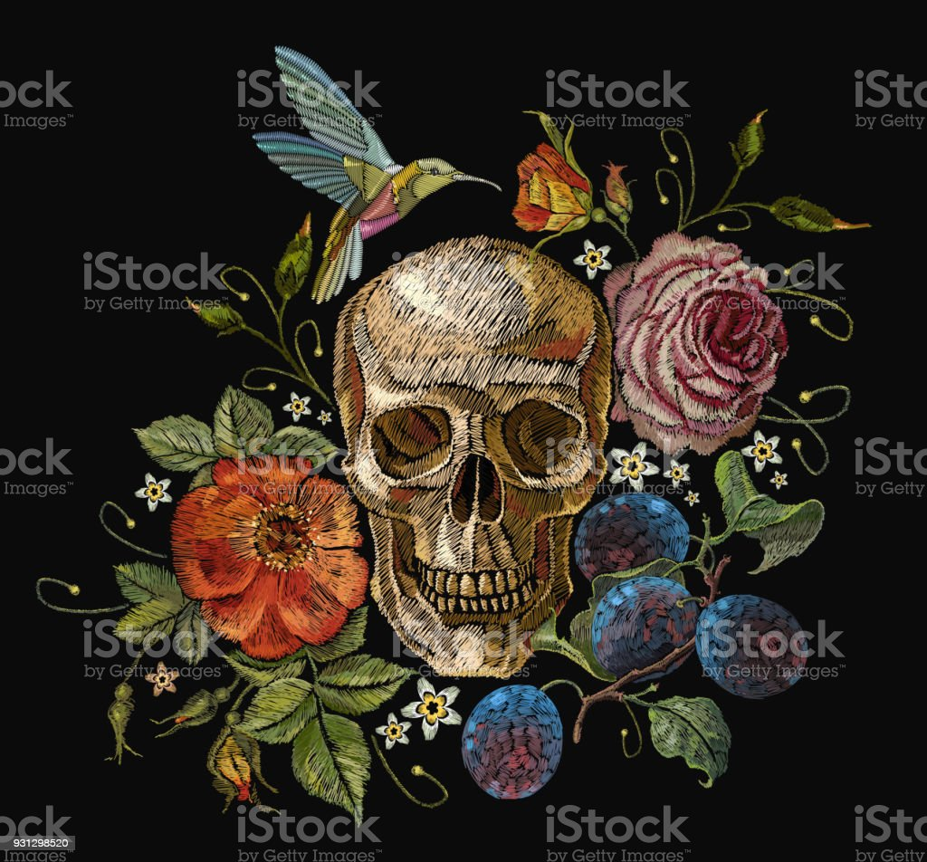 Embroidery skull and roses, grapes, humming bird and flowers. Dia de muertos art, day of the dead. Gothic embroidery human skulls and red roses, clothes template and t-shirt design vector art illustration