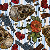 Embroidery skull, heart, guns and roses, romantic seamless pattern in blue strip. Dia de muertos art, day of the dead. Gothic wild west embroidery old revolvers and human skulls