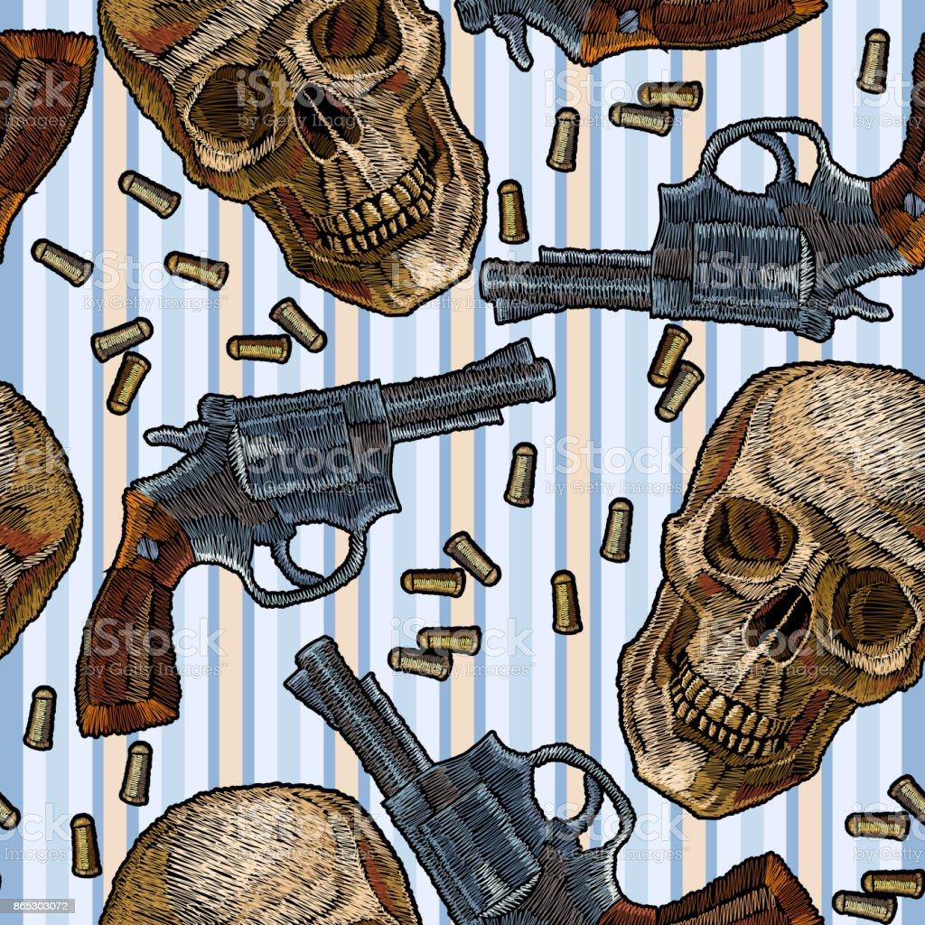 Ilustración De Bordados Calaveras Armas De Patrones Sin Fisuras Azul