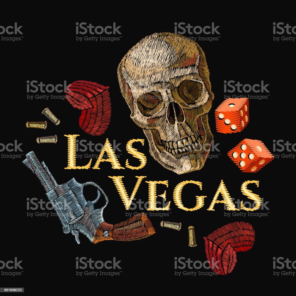 Embroidery Skulls Hearts Guns Casino Art Las Vegas Slogan Wild West
