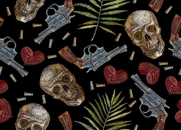 embroidery skulls, tropical palm leaves hearts and guns seamless pattern. wild west embroidery old revolvers, red hearts, human skulls, palm leaves, gothic background. design clothes, t-shirt design - gangster stock illustrations, clip art, cartoons, & icons