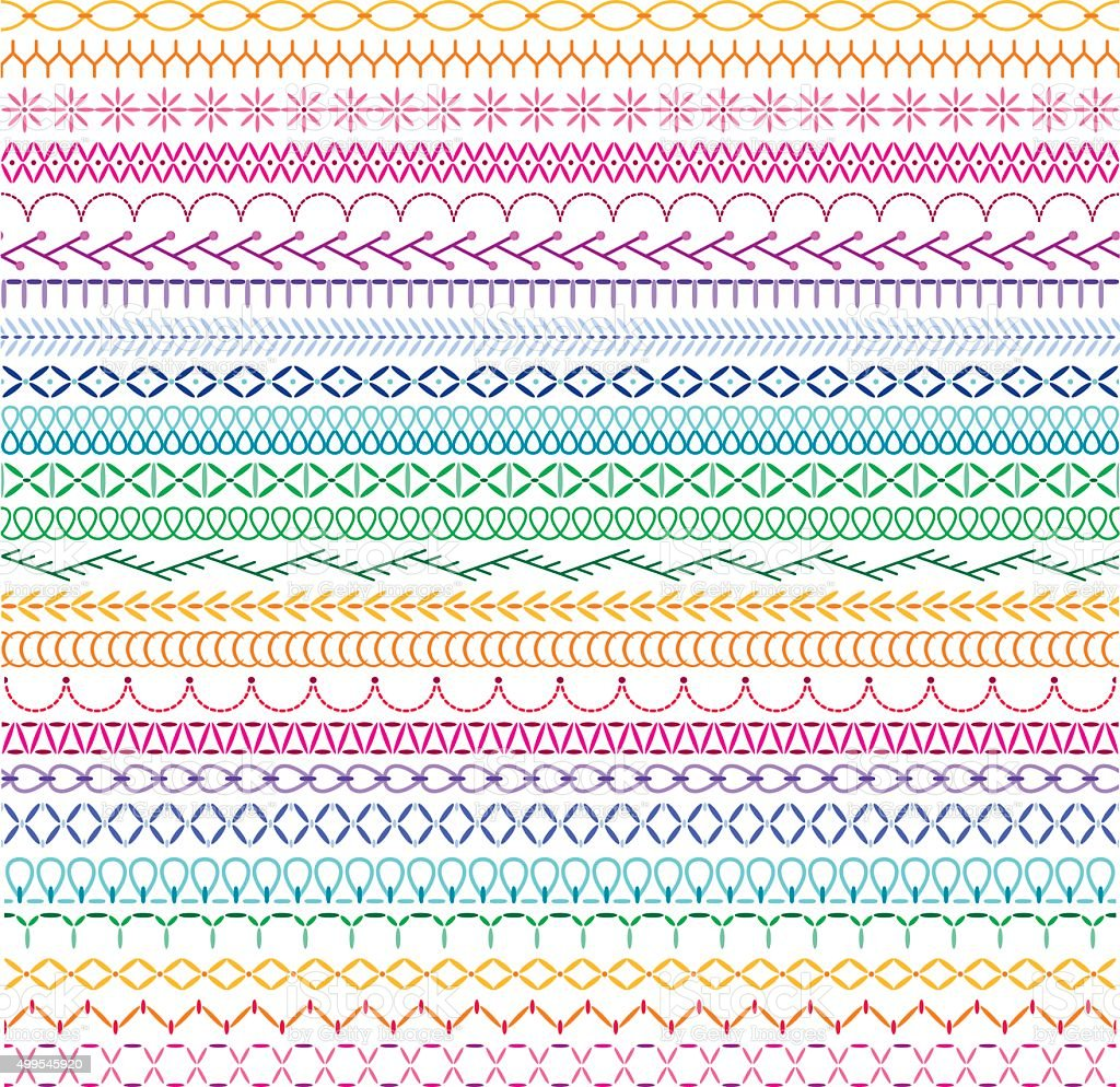 embroidery stitch border patterns vector art illustration