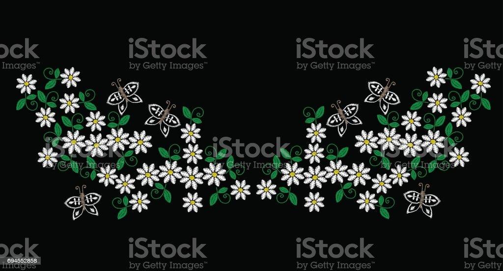 Patrón De La Línea De Bordado Puntadas Imitación Cuello Con Flor ...