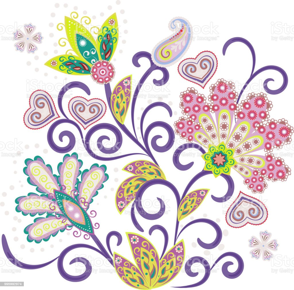 Embroidery Stitches With Fantasy Flowers In Bright Colors Vector