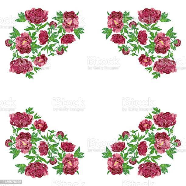 Embroidery stitches with peonies vector ornament pattern on white vector id1136028376?b=1&k=6&m=1136028376&s=612x612&h=rpxa1s6ytffhgt ztdty4ueaaqro4eoy ljo5cmvfi8=