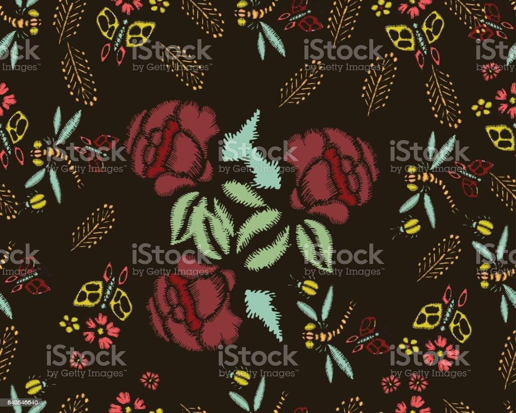 Ilustración de Puntadas De Bordado Con Rosas Prado Flores Libélulas ...