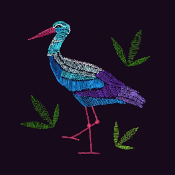 ilustrações de stock, clip art, desenhos animados e ícones de embroidery stork. vector. cartoon - pena de pássaro algodão