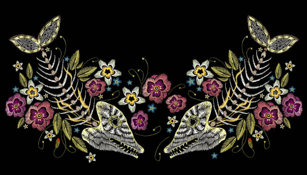 Embroidery summer flowers and skeleton of fish, sea art seamless pattern. Fashionable template for design of clothes, t-shirt design. Embroidery fish bone and flowers, gothic art background vector art illustration