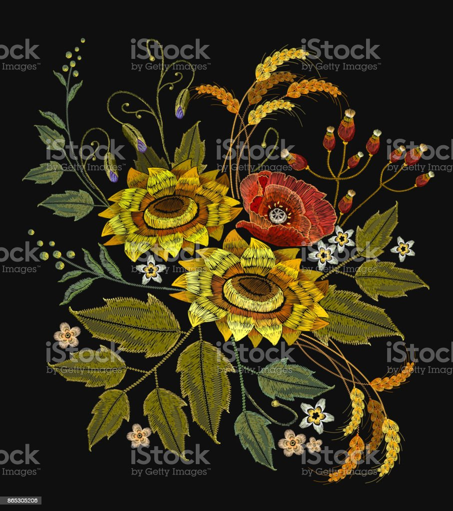 Embroidery sunflowers, roses, flowers, wheat. Beautiful bouquet embroidery. Template for clothes, textiles, spring flowers vector, t-shirt design vector art illustration