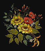 Embroidery sunflowers, roses, flowers, wheat. Template for clothes, textiles, spring flowers vector, t-shirt design. Beautiful bouquet embroidery