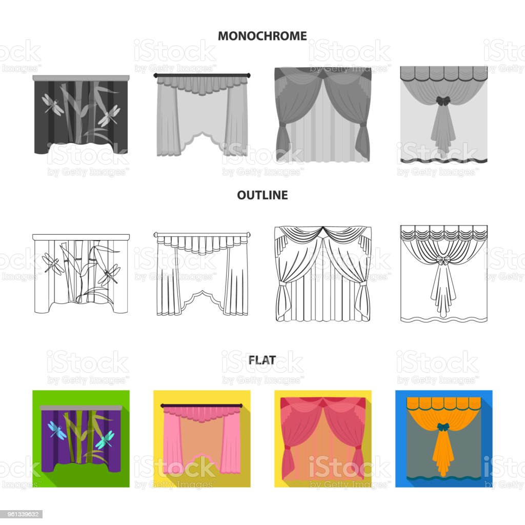 Embroidery, textiles, furniture and other web icon in flat,outline,monochrome style.Curtains, stick, cornices, icons in set collection. vector art illustration