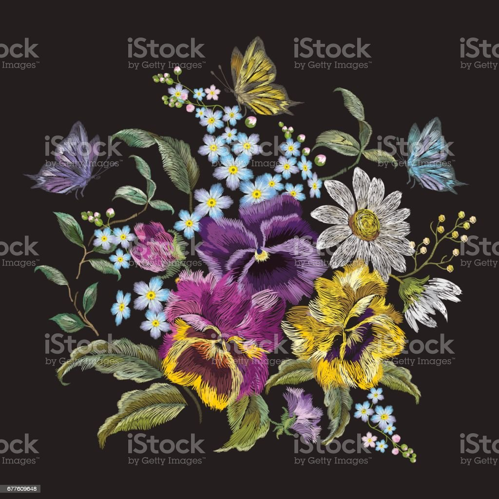 Embroidery trend floral bouquet with pansies, chamomiles and forget me nots. vector art illustration