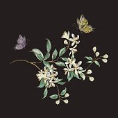 Embroidery trend floral pattern with branch of tropical japanese flowers. Vector traditional folk cherry blossom and butterflies on black background for design.