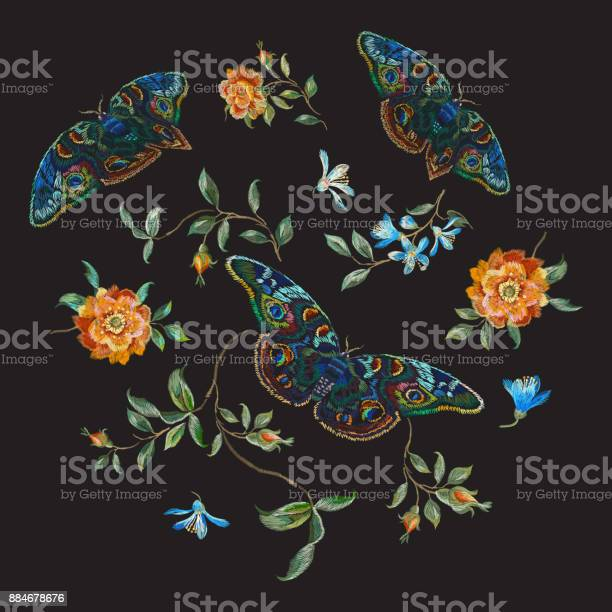 Embroidery trend floral pattern with wild roses and butterflies vector id884678676?b=1&k=6&m=884678676&s=612x612&h=xg7xmlns8q2vwqttm40x0lyvnsvqfcsjikv tbk2opc=