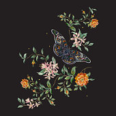 Embroidery trend floral pattern with wild roses and butterfly.