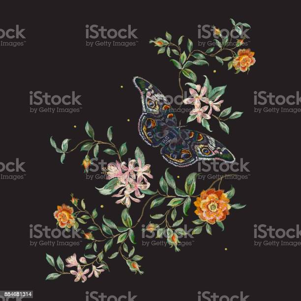Embroidery trend floral pattern with wild roses and butterfly vector id884681314?b=1&k=6&m=884681314&s=612x612&h=hcdjmjcdwajrrfodxrveqowtopr2ohgl tgo7kpshug=
