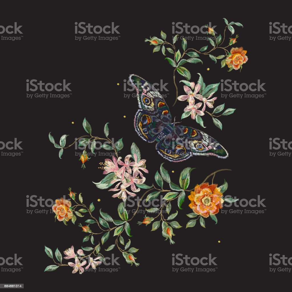 Embroidery trend floral pattern with wild roses and butterfly. vector art illustration