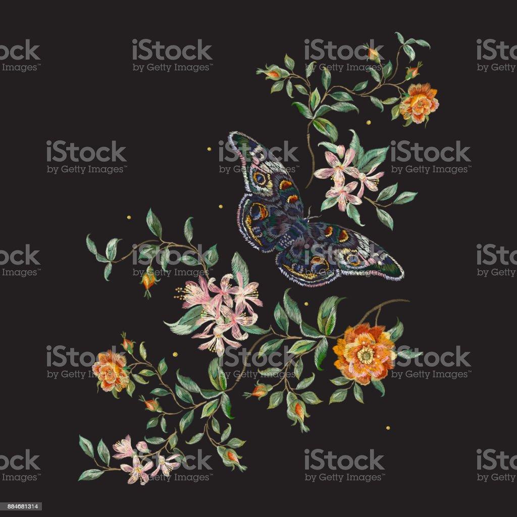 Patrón floral de la tendencia del bordado con rosas silvestres y mariposas. - ilustración de arte vectorial