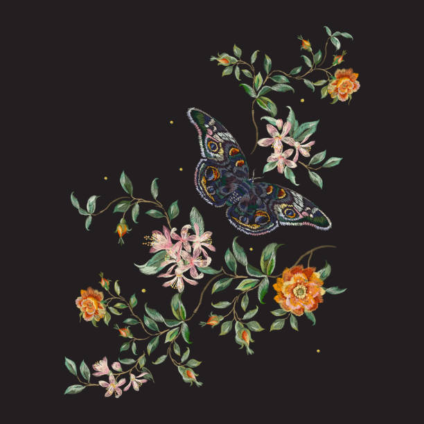 embroidery trend floral pattern with wild roses and butterfly. - animals background stock illustrations