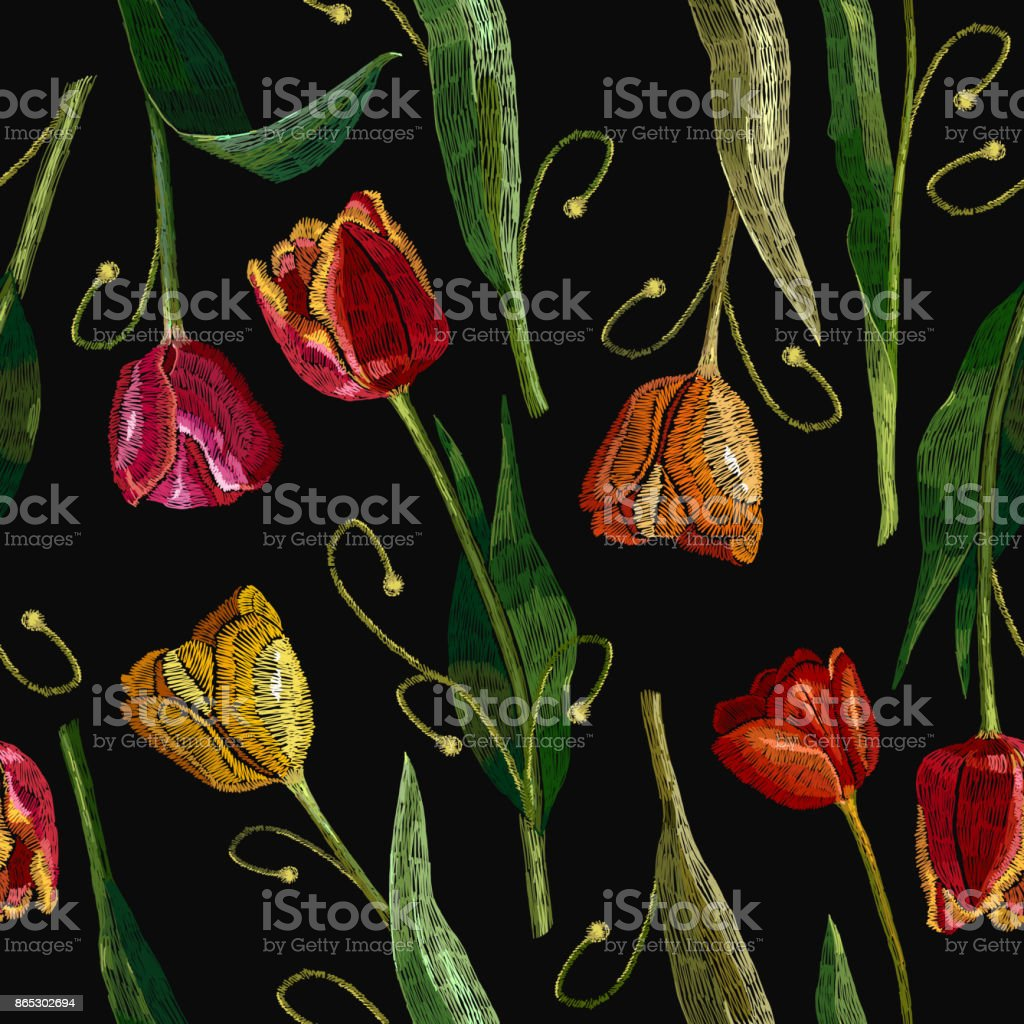 Embroidery tulips seamless pattern. Classical embroidery red and yellow tulips. Fashionable template for design of clothes, t-shirt design, tapestry vector art illustration