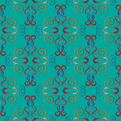 Embroidery turquoise damask seamless pattern. Baroque style flor