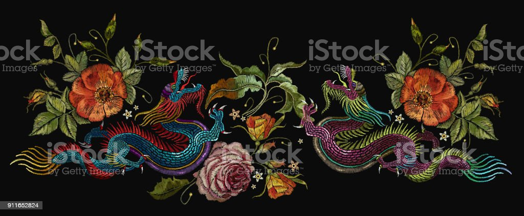 Embroidery two chinese dragons, roses and peonies flowers. Classical embroidery asian dragons and beautiful red roses vector. Art dragons t-shirt design. Clothes, textile design template vector art illustration