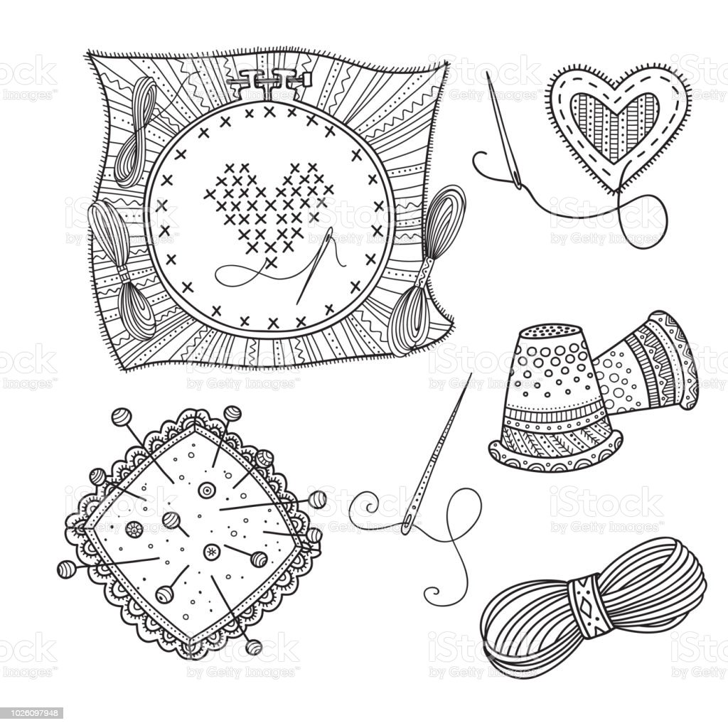 Embroidery Vector Set With Tools And Thread In Boho Style Stock