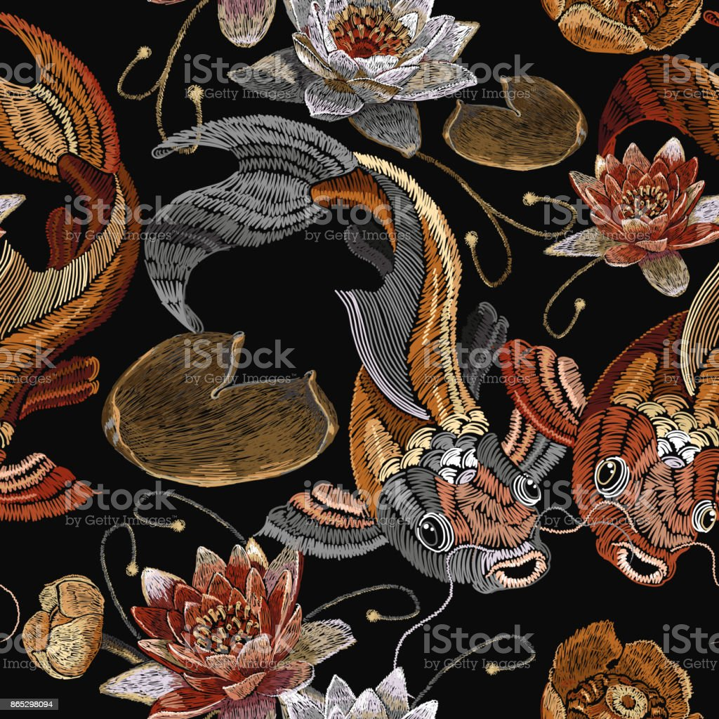 Embroidery vintage koi fish and water lily seamless pattern, japanese pattern. Classical embroidery koi carp, pink and white lotuses and water lilies, vintage template clothes, t-shirt design vector art illustration