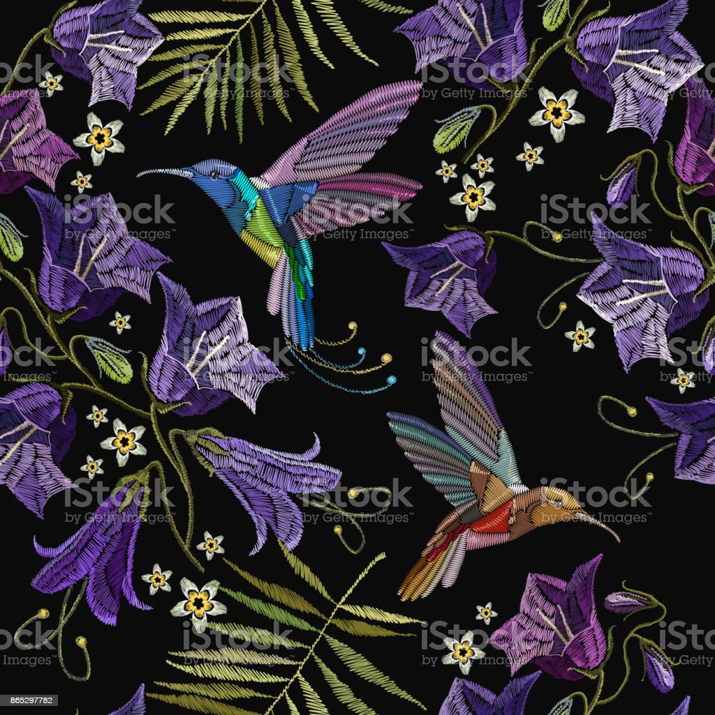 Embroidery violet flowers bells and humming bird seamless pattern. Beautiful violet cornflowers and humming bird, classical embroidery pattern. Fashionable template for design of clothes vector art illustration