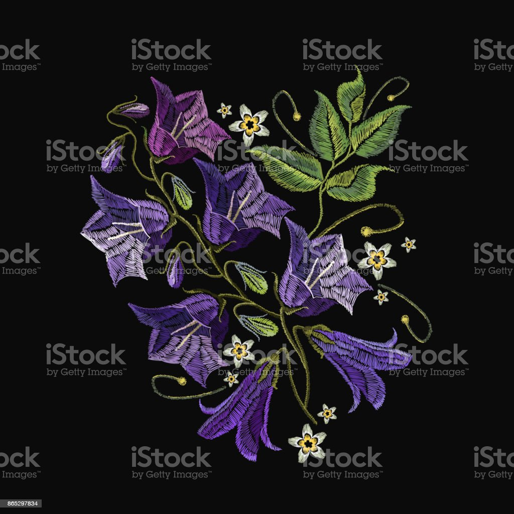 Embroidery violet flowers bells. Fashionable template for design of clothes. Beautiful cornflowers, classical embroidery vector vector art illustration