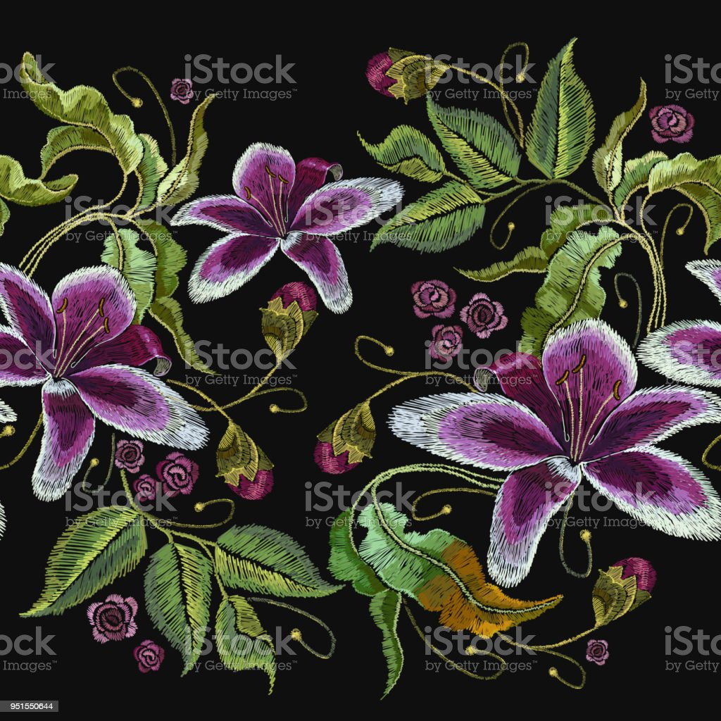 Embroidery Violet Orchid Flowers Exotic Tropical Flowers Template