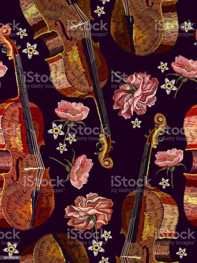 Ilustracion De Patron Flores Violin Y Las Rosas Para Bordar Violin