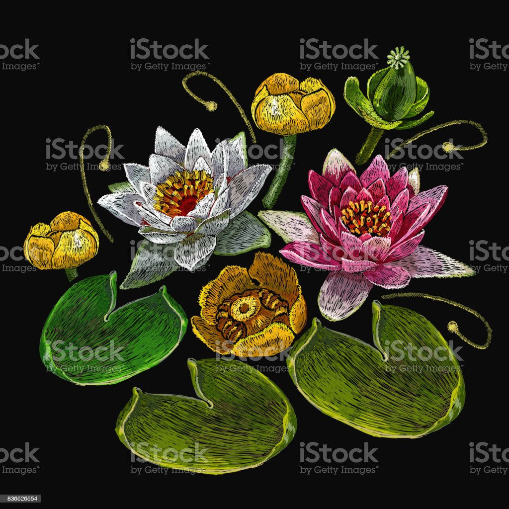 Embroidery water lily flowers classical embroidery lotus and water embroidery water lily flowers classical embroidery lotus and water lilies template fashionable clothes izmirmasajfo Gallery